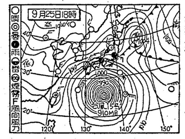 伊勢湾台風襲来時の天気図